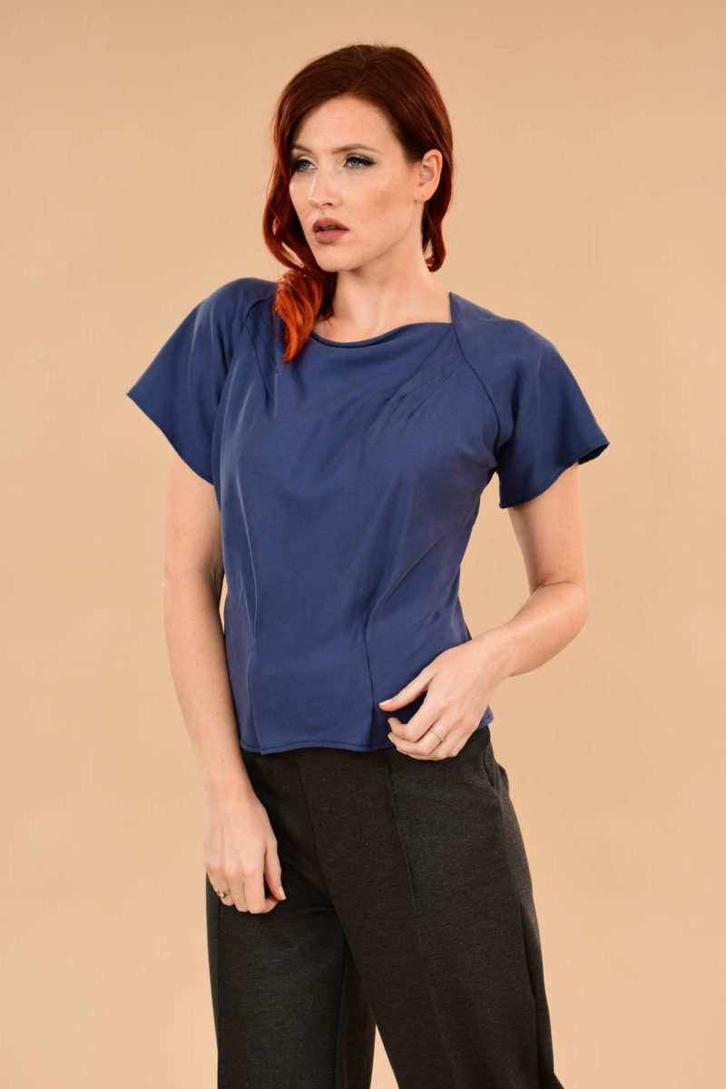 Katherine Short Sleeve Boatneck Rayon Perfect Work Blouse Denim Blue