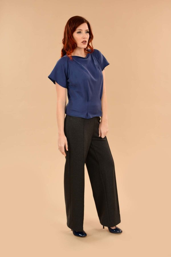 Katherine Short Sleeve Boatneck Rayon Perfect Work Blouse Denim Blue