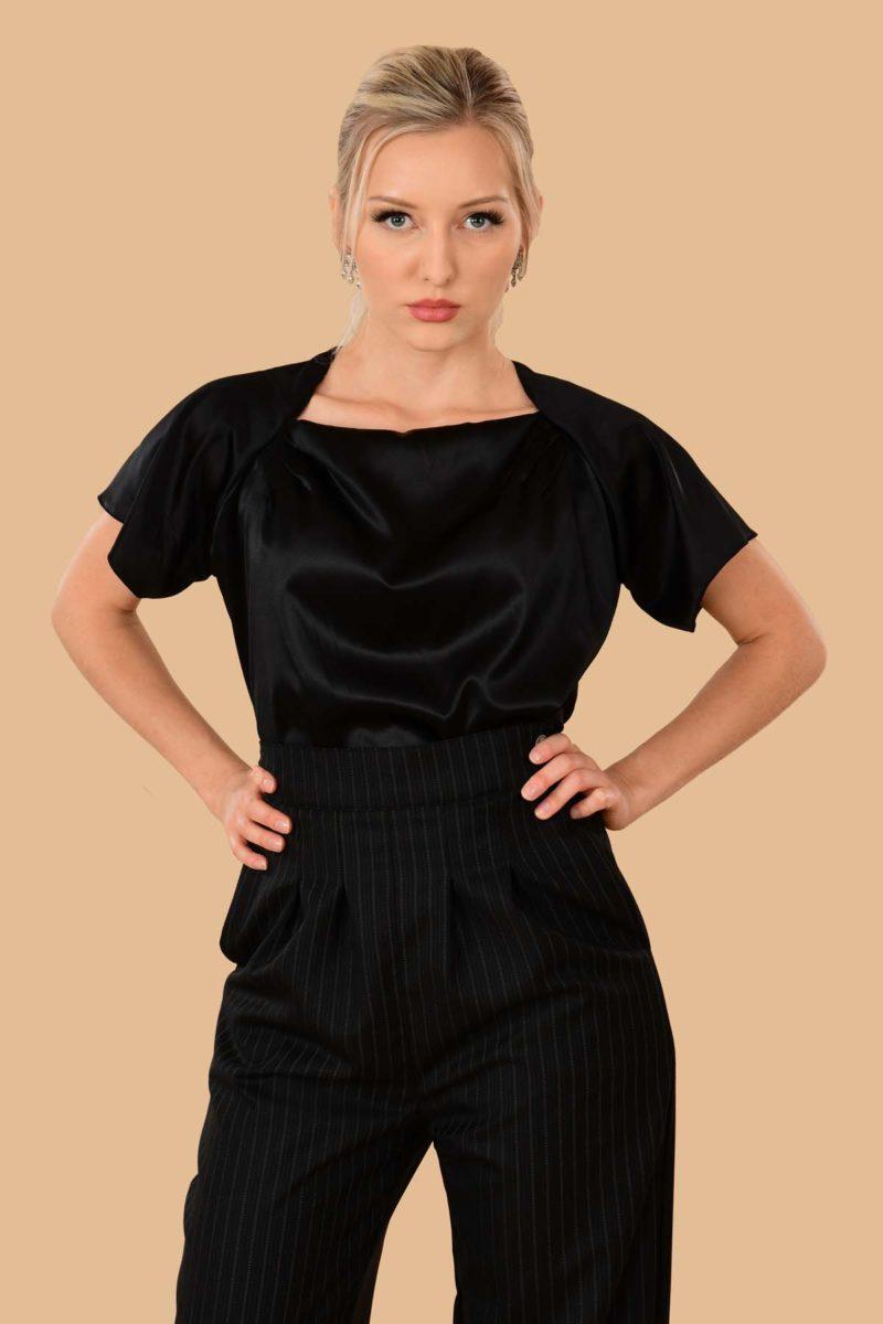 Katherine Silk Charmeuse Blouse Black