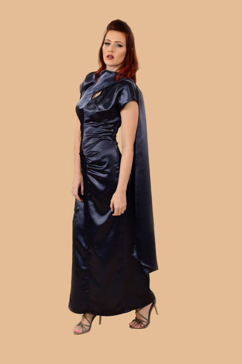 Lana Blue Satin Rouched Hollywood Glam Red Carpet Evening Gown
