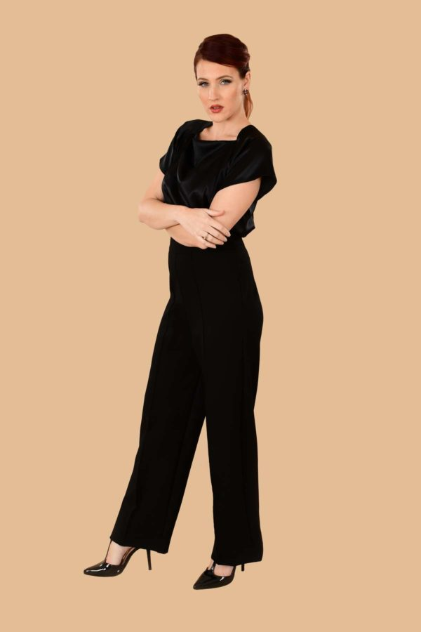 Lauren High Waisted Stretch Twill Wide Leg Sailor Pants Black
