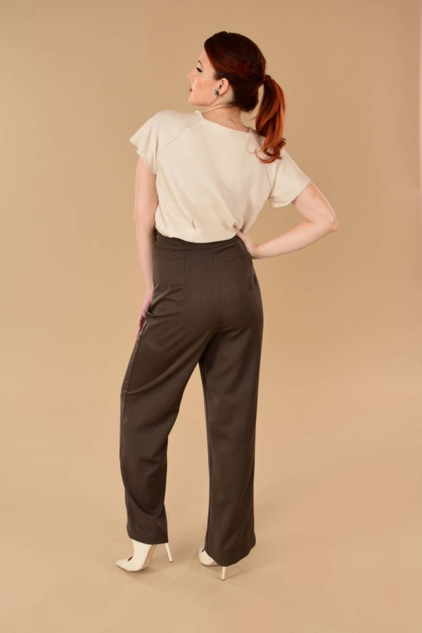 Lauren High Waisted Stretch Twill Wide Leg Sailor Pants Brown