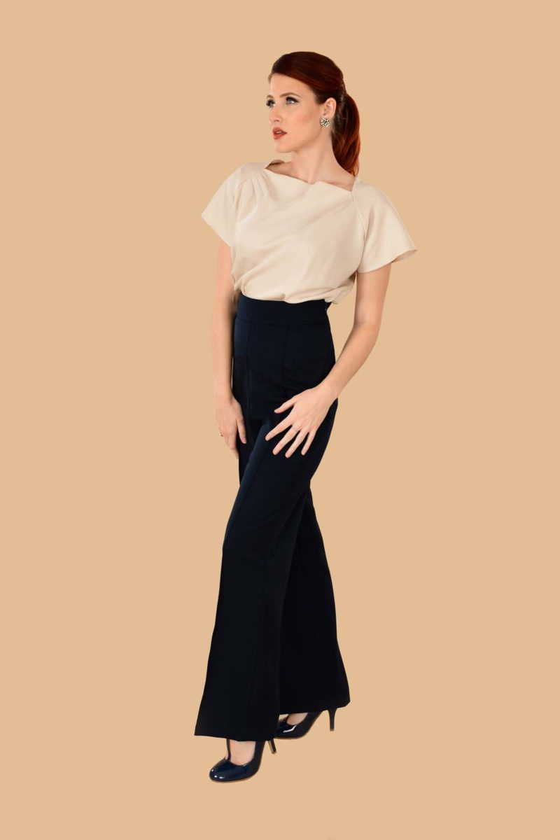 Lauren High Waisted Stretch Twill Wide Leg Sailor Pants Navy Blue
