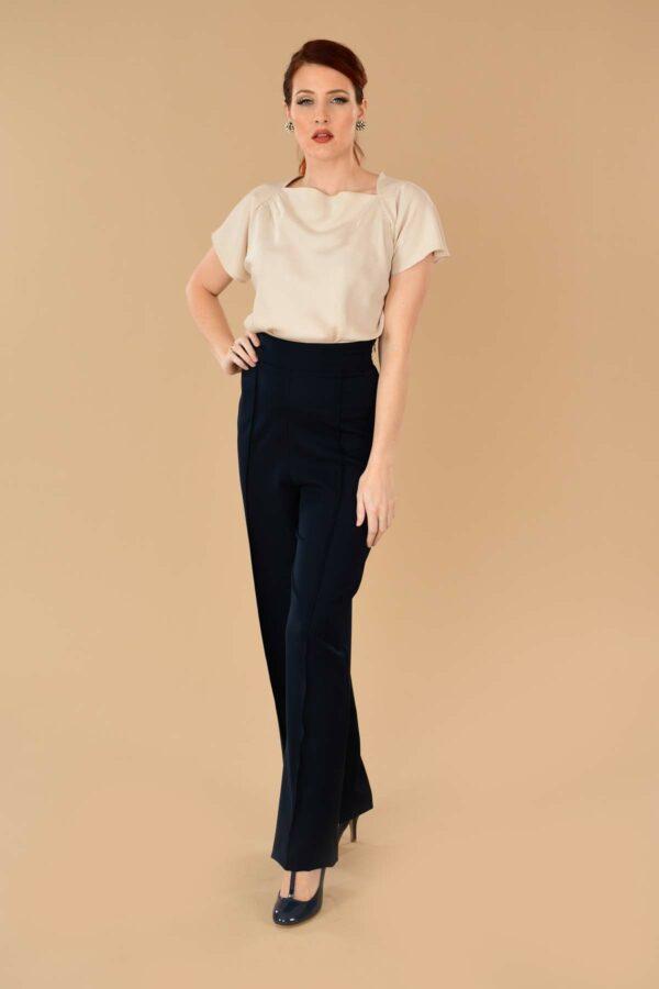 Lauren High Waisted Stretch Twill Wide Leg Sailor Pants Navy Blue