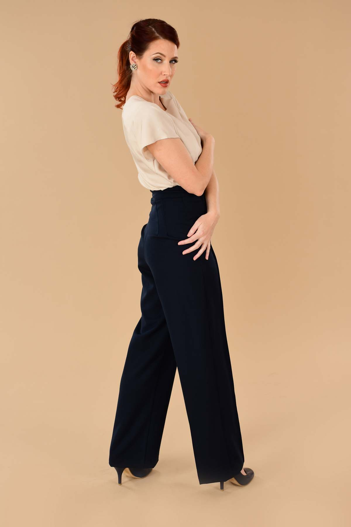 Chic 1940s style navy high waisted ladies wide leg trousers