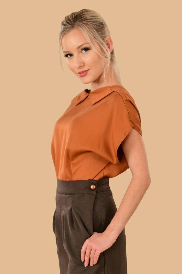 Lauren Short Sleeve Peter Pan Collar Open Back Blouse Pumpkin Orange