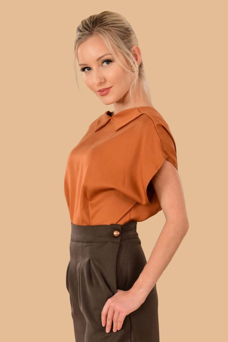 Lauren Short Sleeve Peter Pan Collar Open Back Blouse Pumpkin Orange