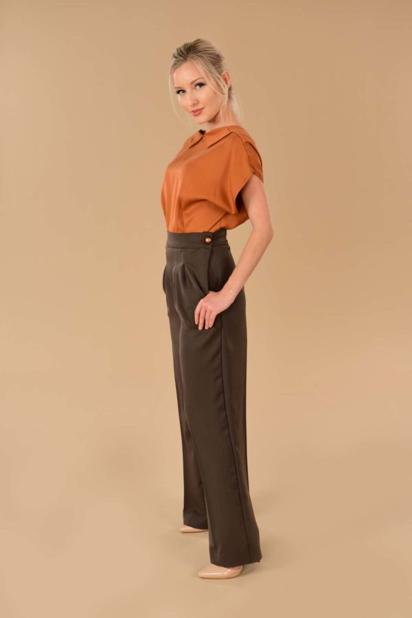Lauren High Waisted Stretchy Ponte Sailor Dress Pants Rust Orange