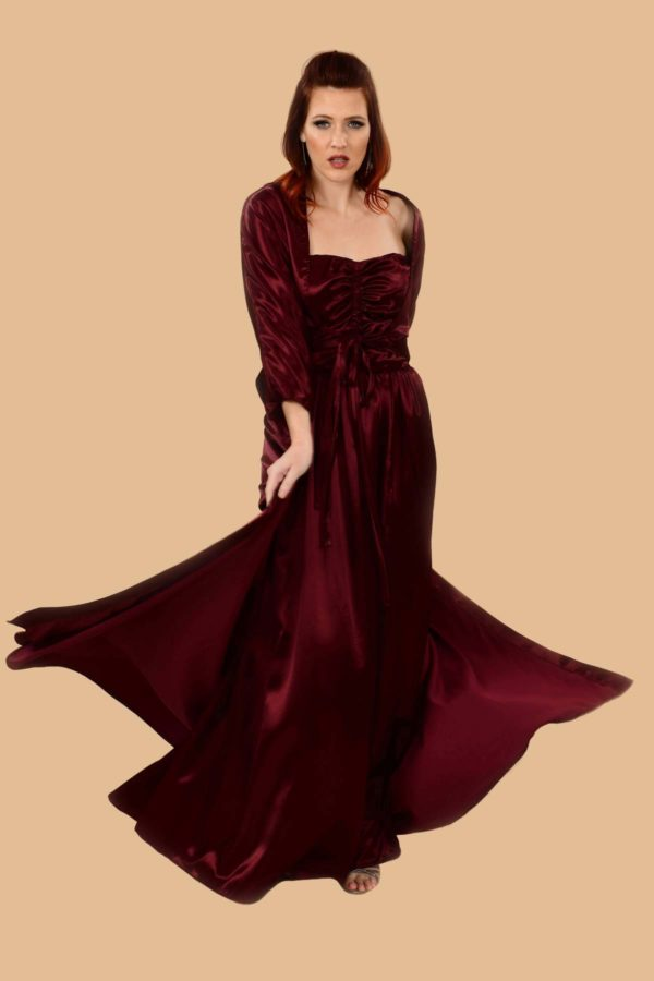 Lilyan Bordeaux Red Satin Glamorous Strapless Rouched Ball Gown with Matching Robe