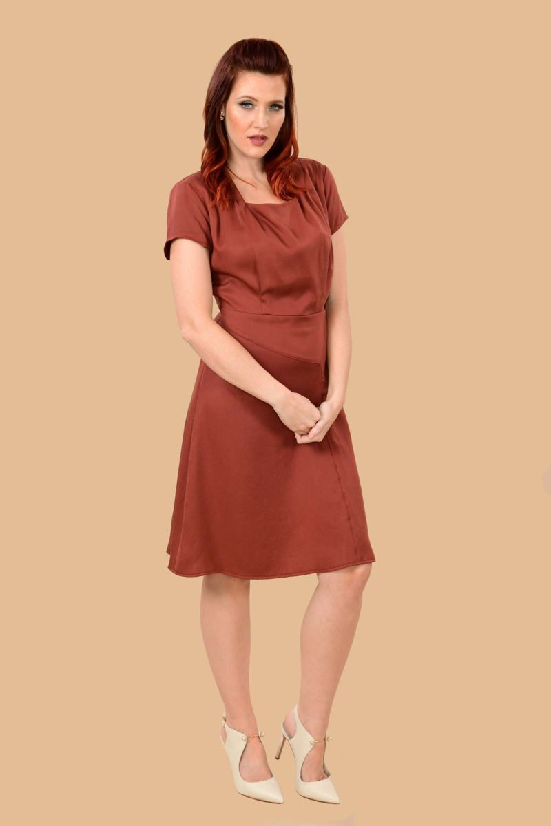 Paulette Short Sleeve Midi A Line Office Dress Auburn Red