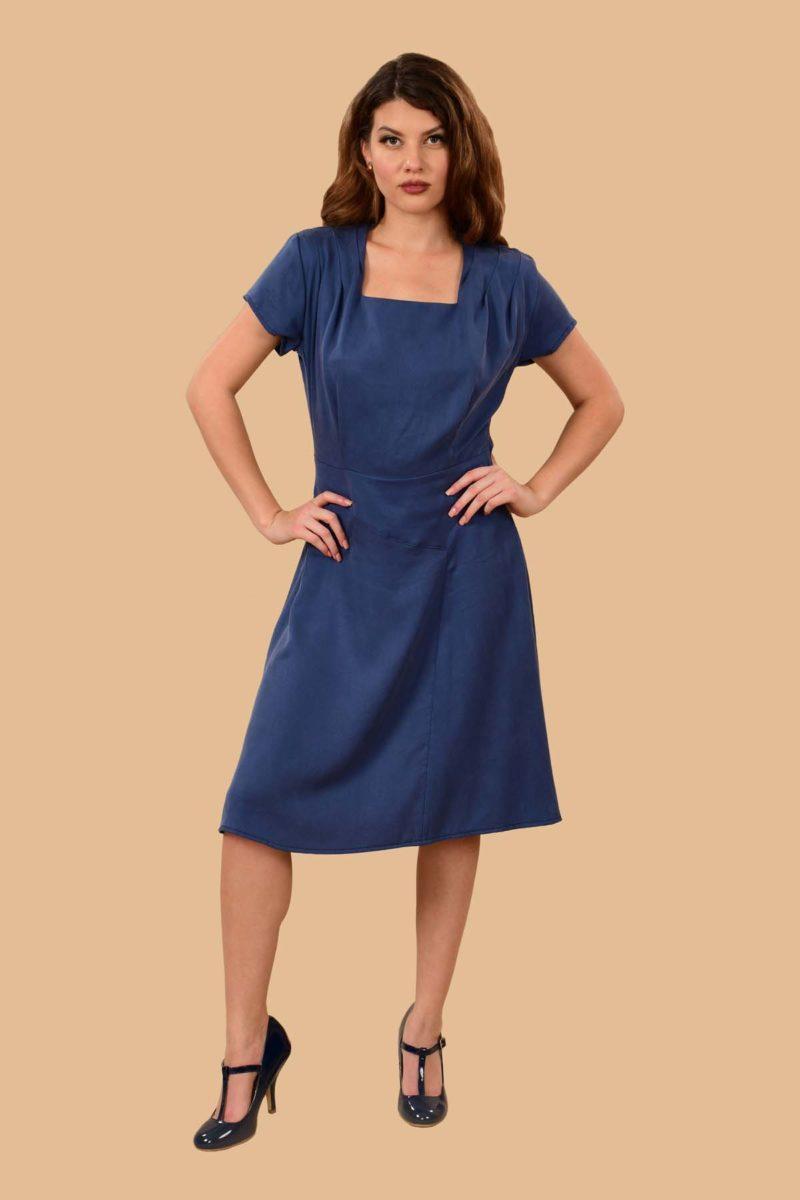Paulette Short Sleeve Midi A Line Office Dress Denim Blue