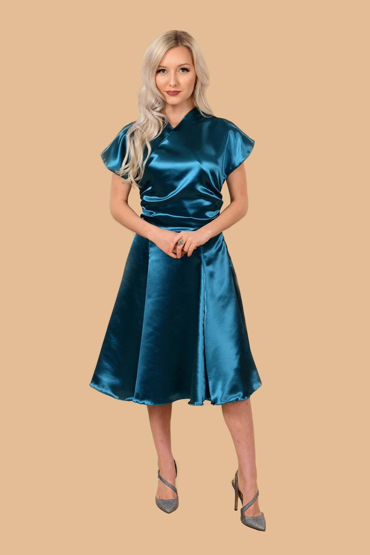 Rita Satin Kimono Fit-And-Flare Cocktail Dress Peacock Blue