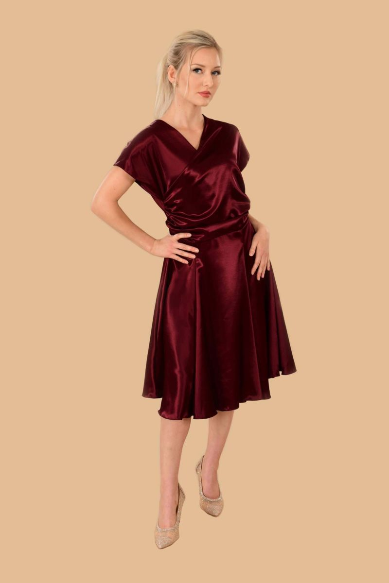 Rita Satin Kimono Fit-And-Flare Cocktail Dress Red Bordeaux