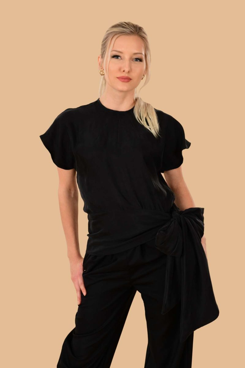 Vivien Night Out Silky Viscose Bow Evening Blouse Top Black