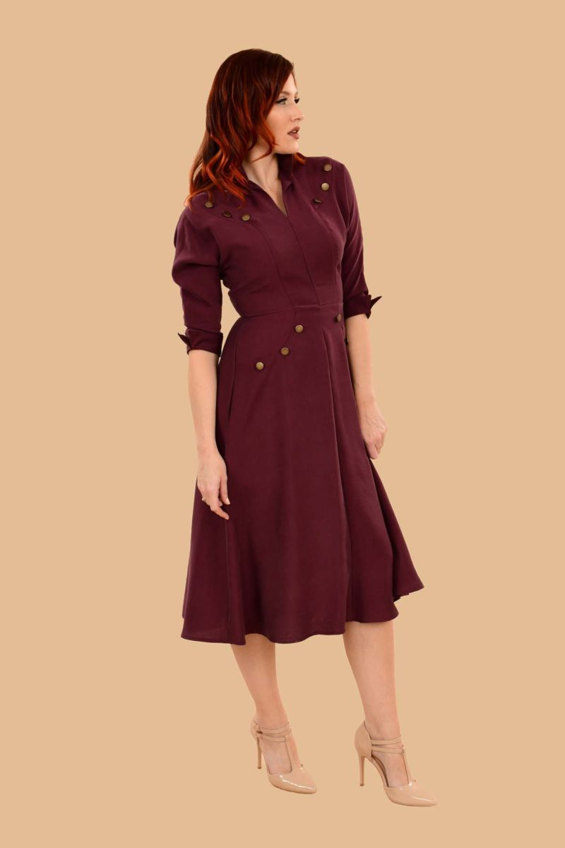 Ann Military A Line Viscose Secretary Midi Dress Burgundy Plum
