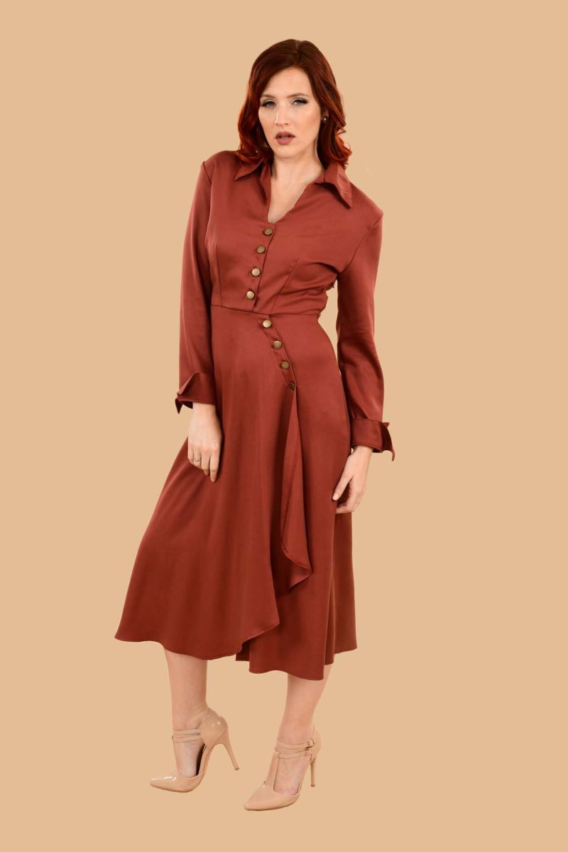 Barbara Military Style Front Slit Shirt Dress Midi Auburn Red