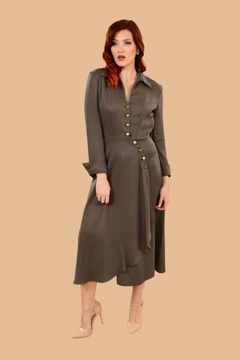 Barbara Military Style Front Slit Shirt Dress Midi Olive Green