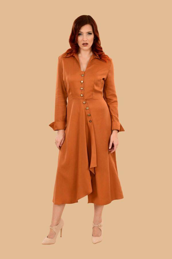 Barbara Military Style Front Slit Shirt Dress Midi Pumpkin Orange