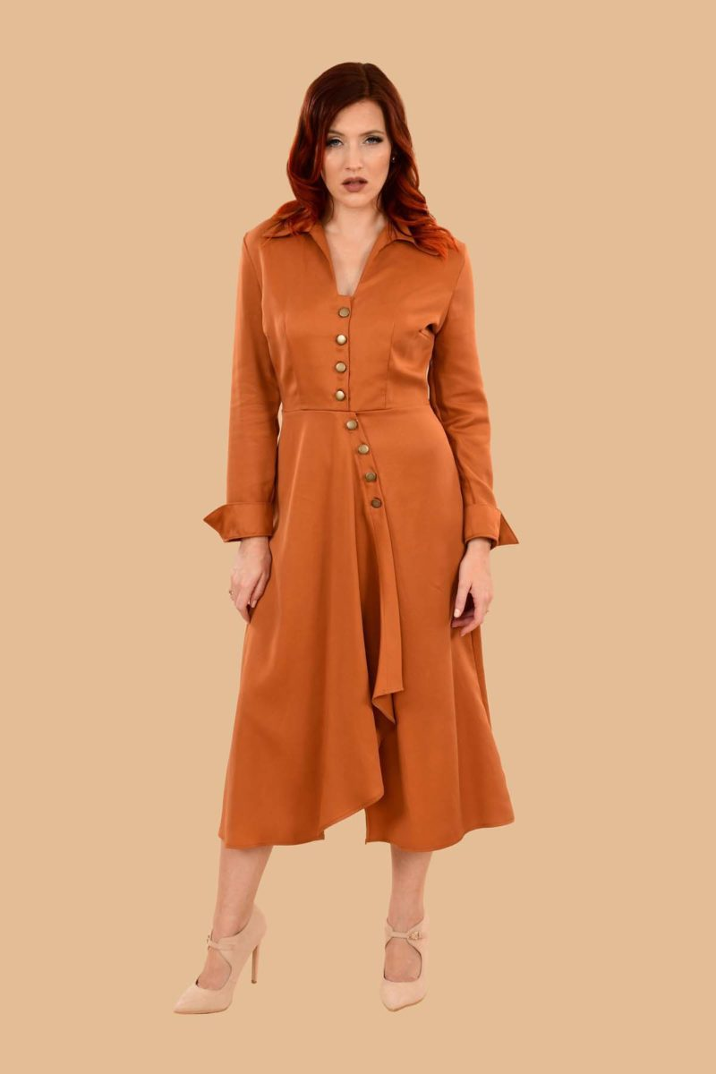 Barbara Military Style Front Slit Shirt Dress Midi Pumpkin Orange