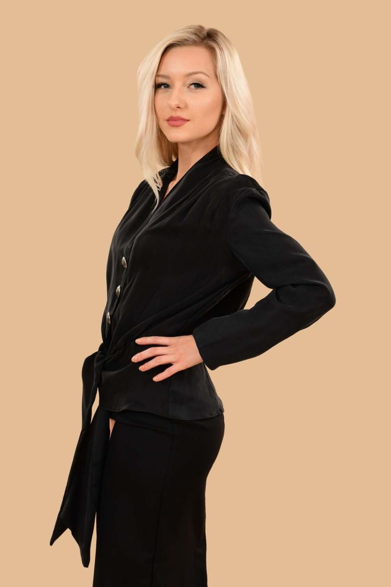 Bette Silky Viscose Long Sleeve Crop Jacket Dress Blouse Black