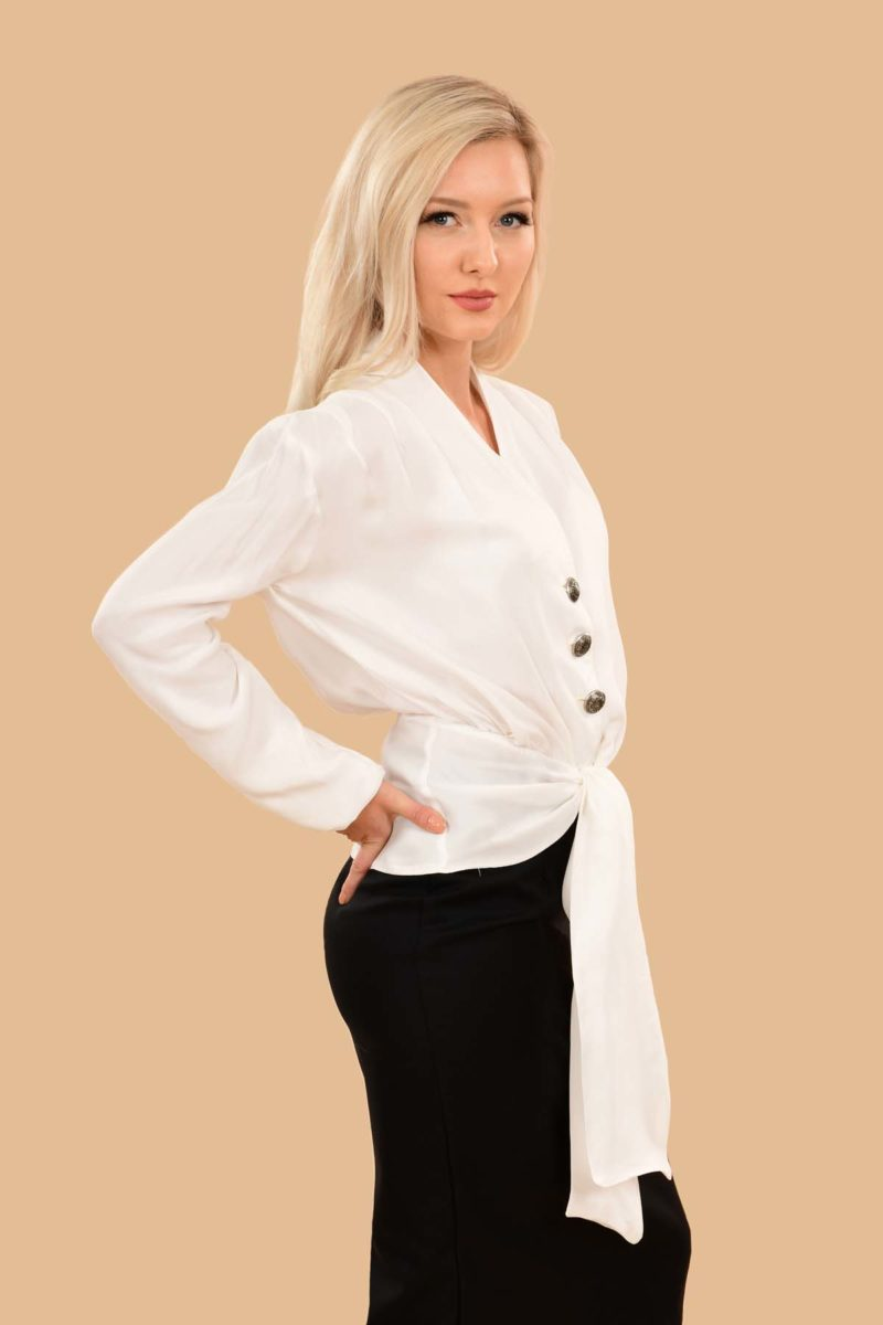 Bette Silky Viscose Long Sleeve Crop Jacket Dress Blouse White
