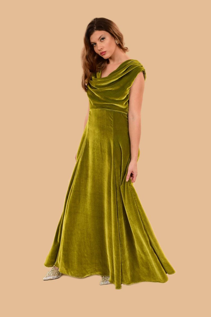 Carole Cowl Neck Velvet Evening Maxi Gown Green Chartreuse