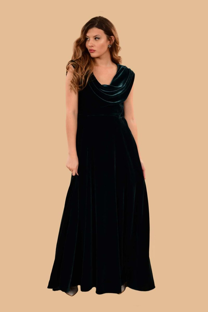 Carole Cowl Neck Velvet Evening Maxi Gown Peacock Blue