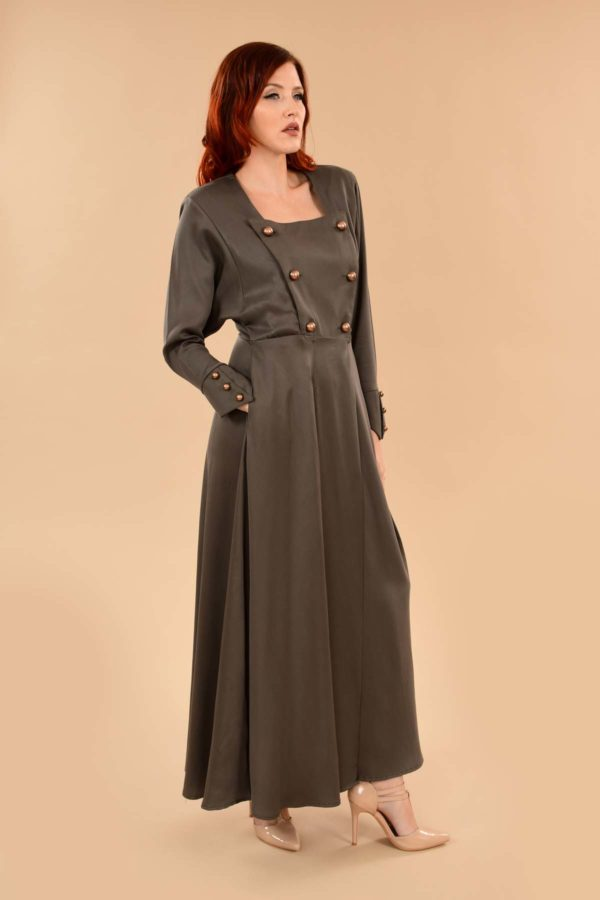 Ginger Military Batwing Wrap Maxi Dress with Pockets Green Khaki