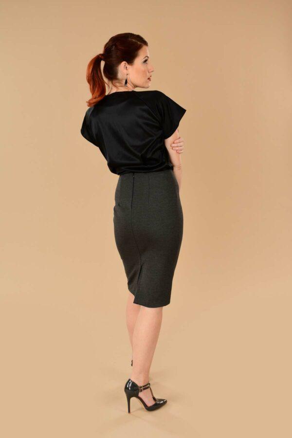 Greta Stretchy Ponte Knee Length Pencil Skirt Gray Charcoal