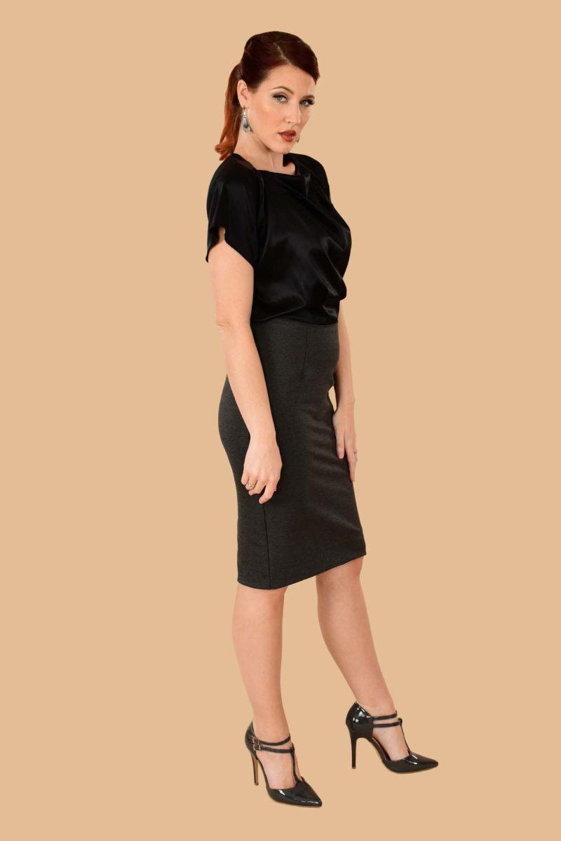 Greta Pencil Skirt Charcoal