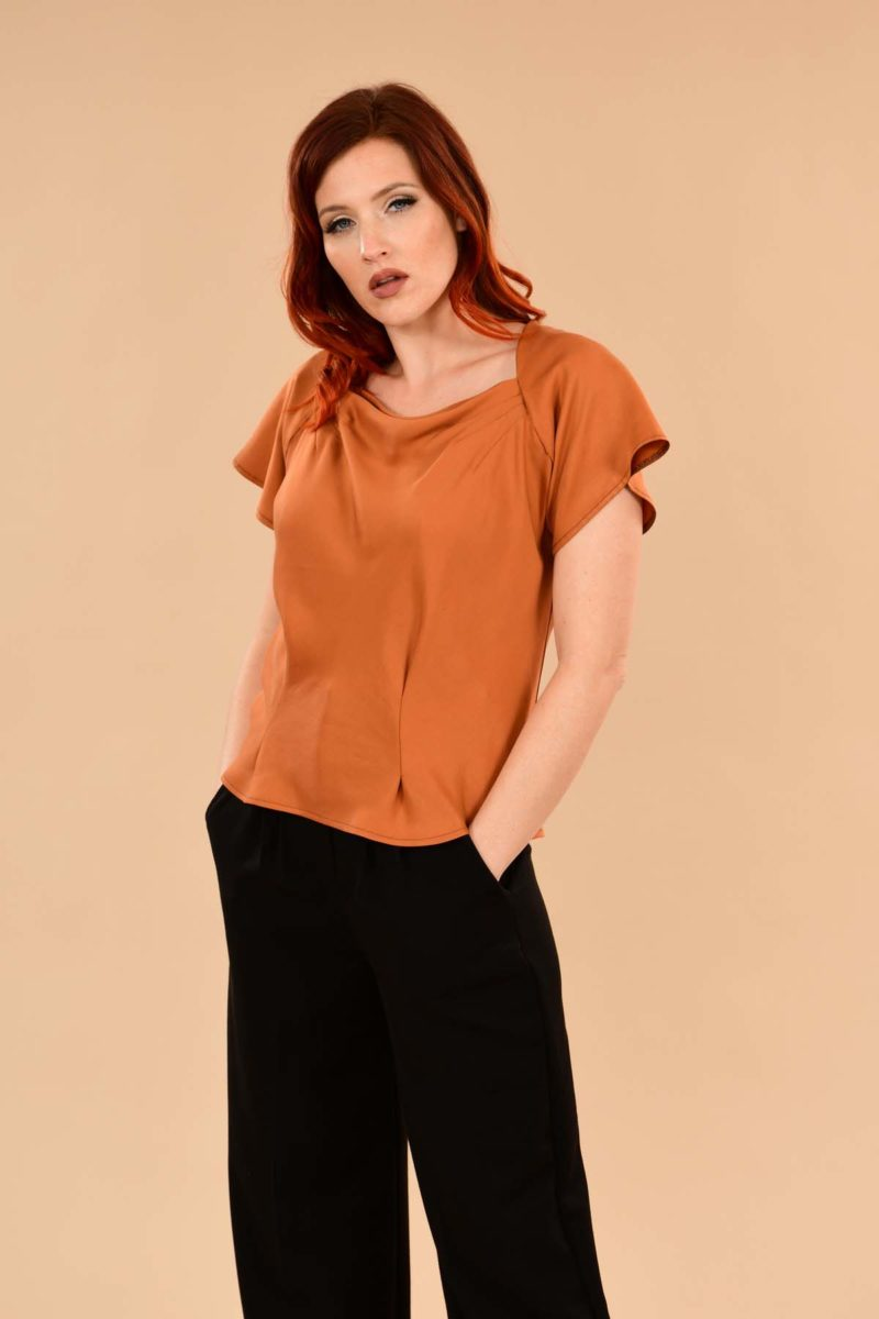 Katherine Short Sleeve Boatneck Rayon Perfect Work Blouse Pumpkin Orange