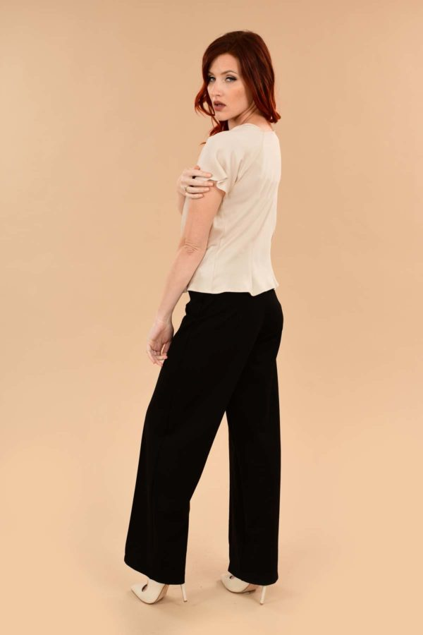 Lauren High Waisted Stretchy Ponte Sailor Dress Pants Black