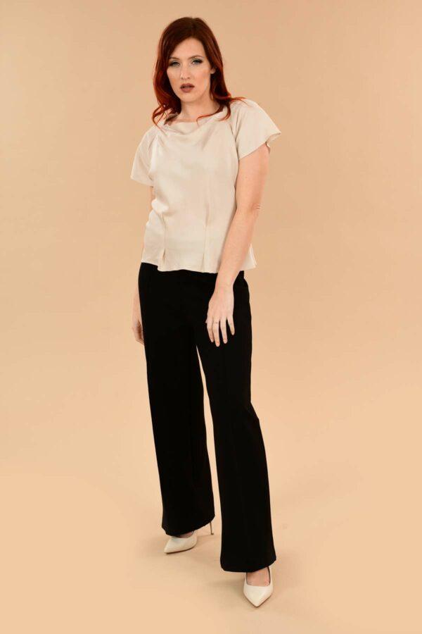 Lauren High Waisted Stretchy Ponte Sailor Dress Pants Black
