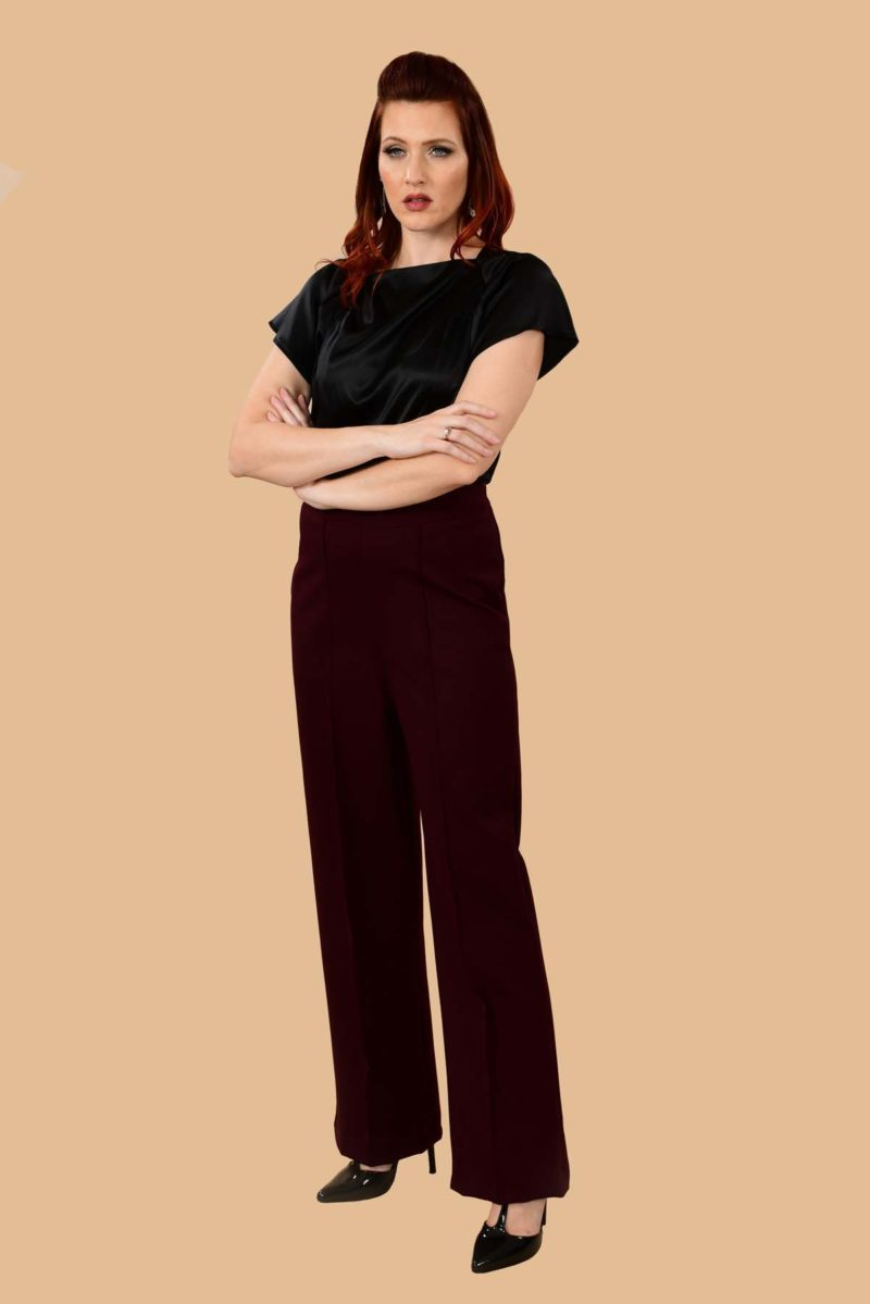 Lauren High Waisted Stretchy Ponte Sailor Dress Pants Burgundy Plum