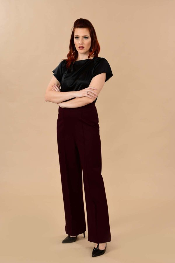 Lauren High Waisted Stretchy Ponte Sailor Dress Pants Burgundy Plum