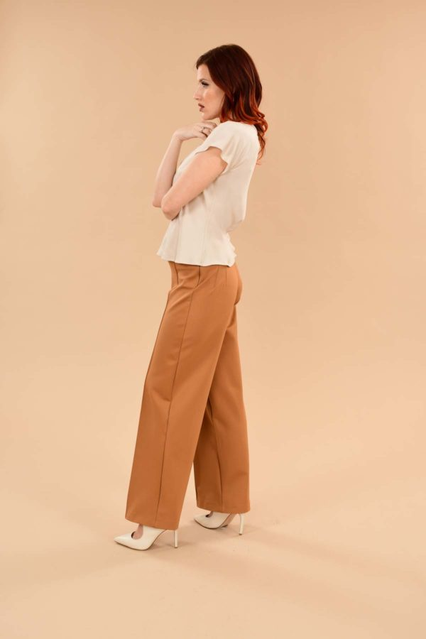 Lauren High Waisted Stretchy Ponte Sailor Dress Pants Camel Tan