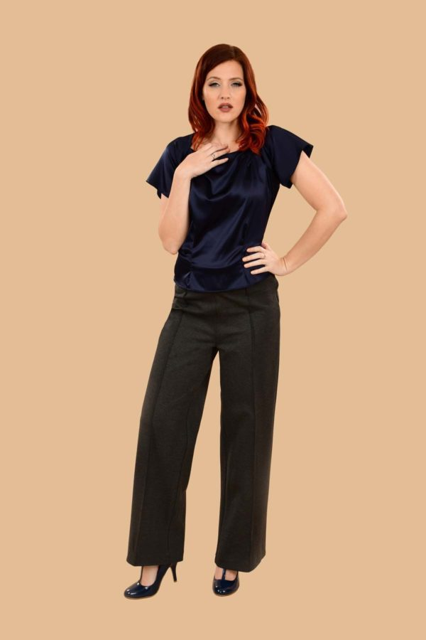 Lauren High Waisted Stretchy Ponte Sailor Dress Pants Gray Charcoal