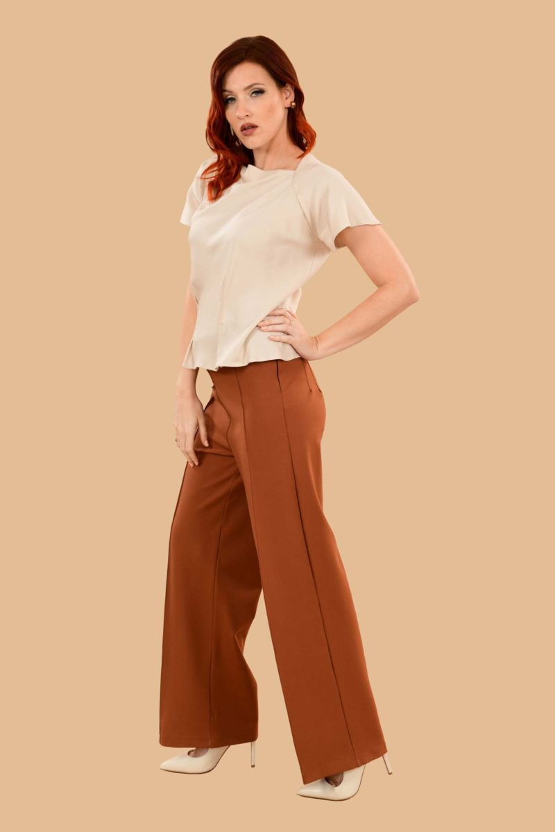 Lauren High Waisted Stretchy Ponte Sailor Dress Pants Rust Orange