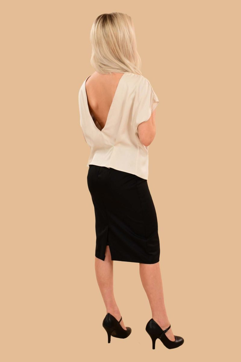 Lauren Short Sleeve Peter Pan Collar Open Back Blouse White Ivory