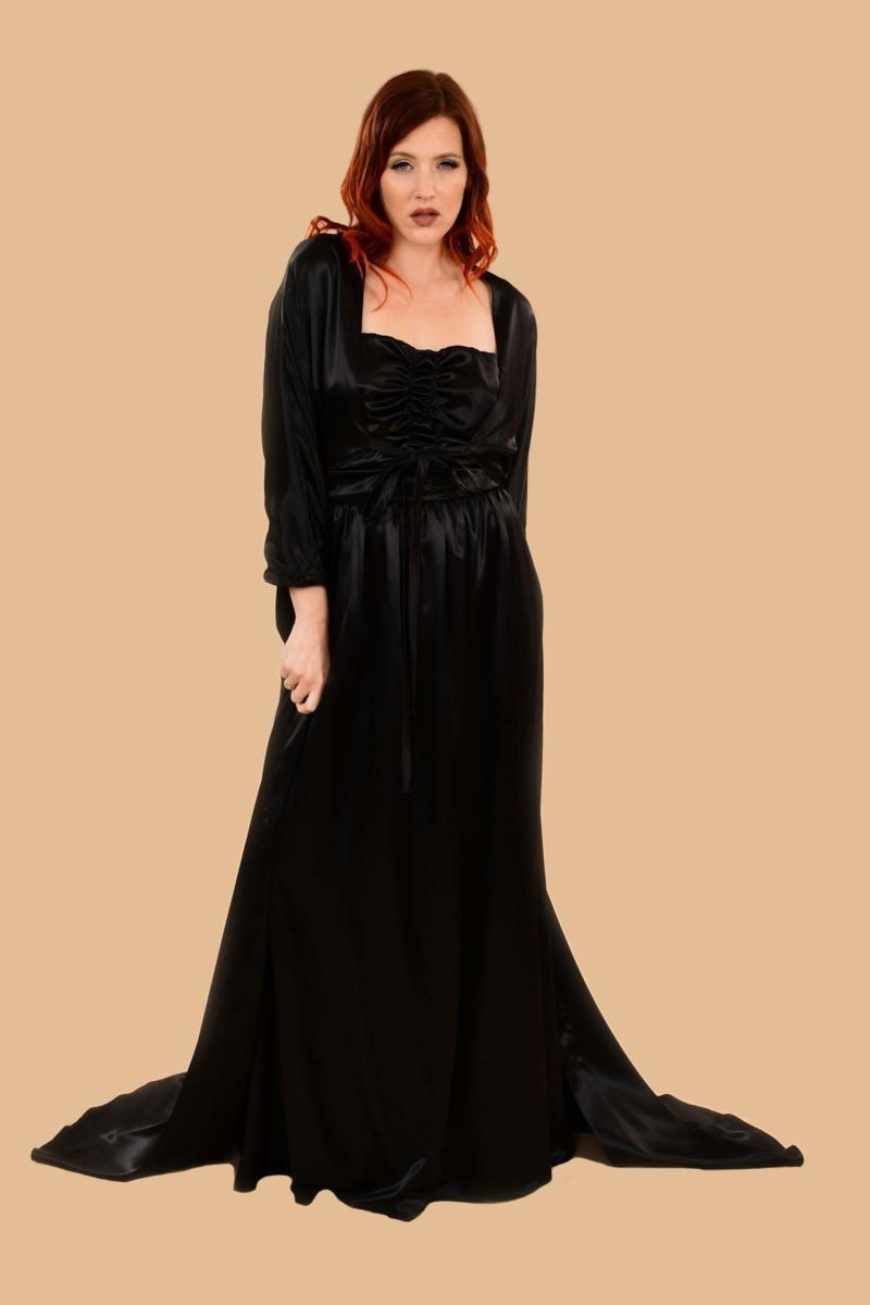Lilyan Black Satin Glamorous Strapless Rouched Ball Gown with Matching Robe