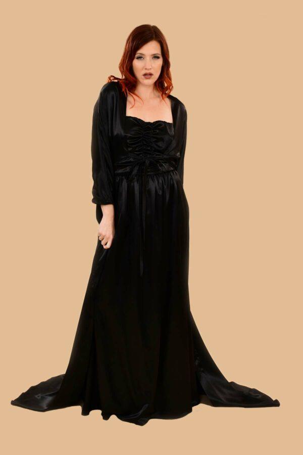 Lilyan Silky Satin Gown Robe Black