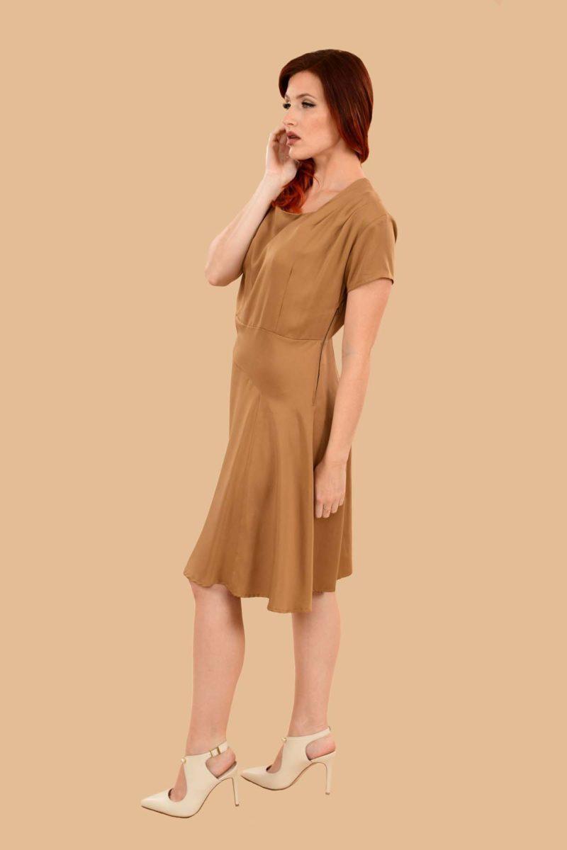 Paulette Short Sleeve Midi A Line Office Dress Camel Tan