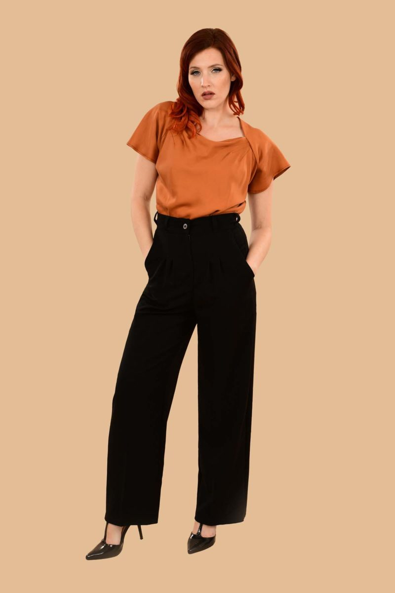 Rita Pleated High Waist Front Zip Wide Leg Dress Pants Black