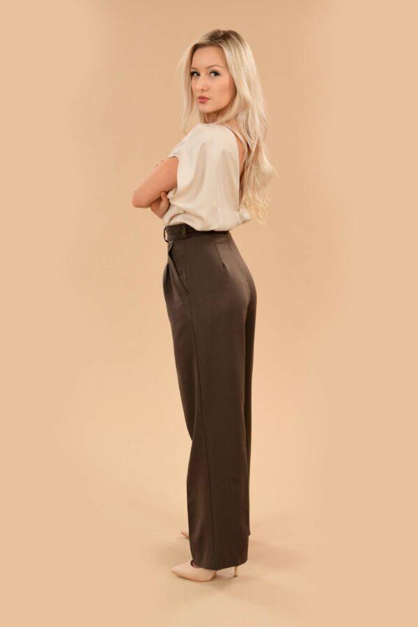 Rita Pleated High Waist Front Zip Wide Leg Dress Pants Brown