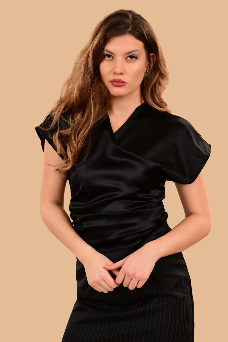 Rita Silky Charmeuse Short Sleeve Kimono Dress Blouse Black
