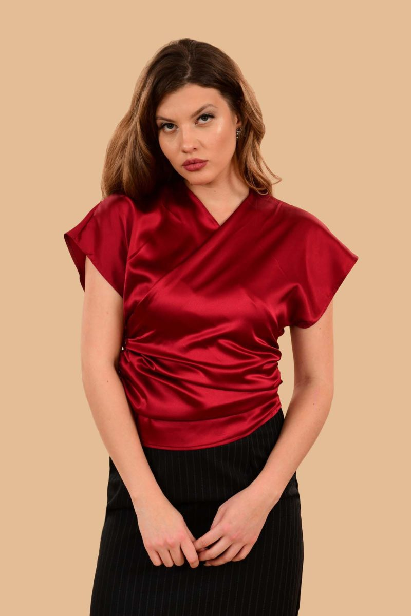 Rita Silky Charmeuse Short Sleeve Kimono Dress Blouse Red