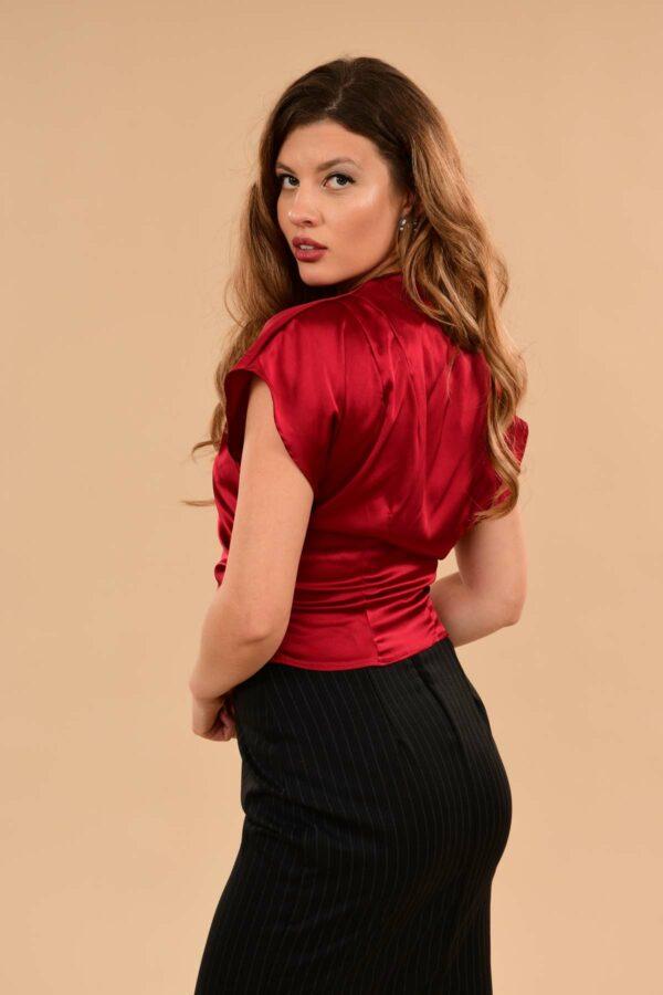 Rita Silky Charmeuse Short Sleeve Kimono Dress Blouse Red
