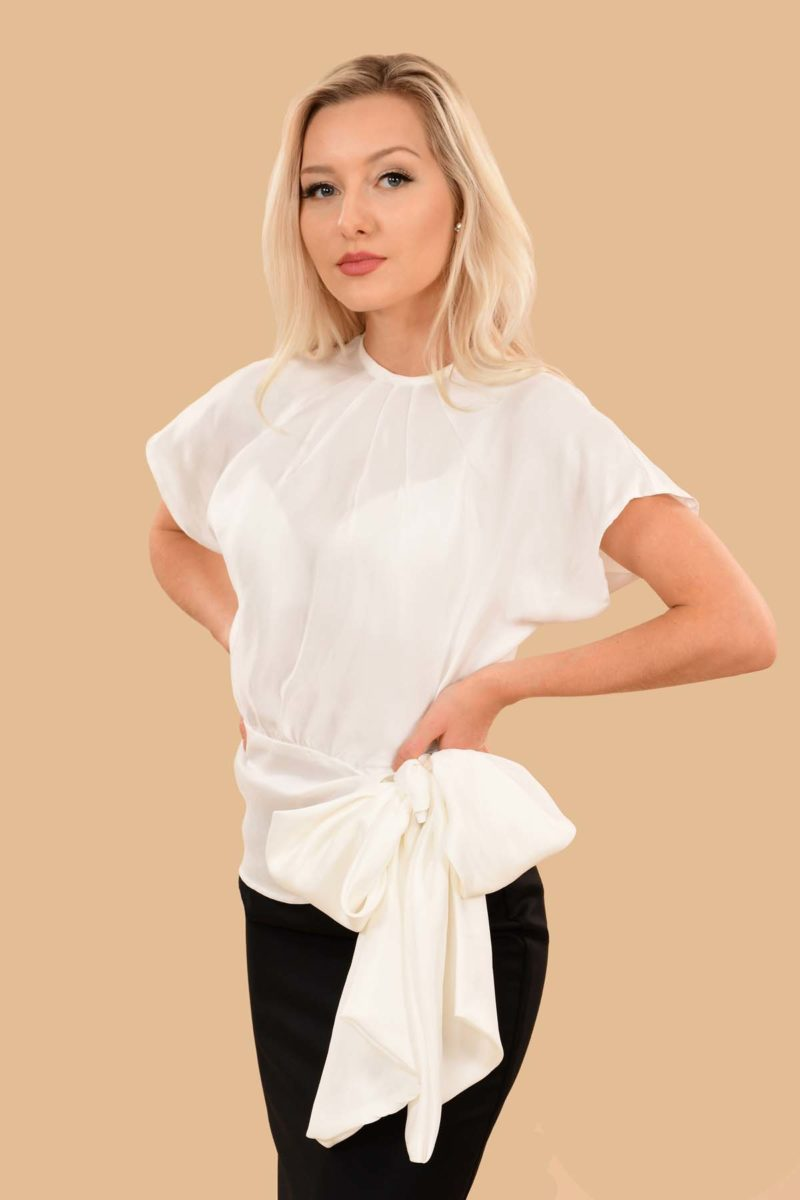 Vivien Night Out Silky Viscose Bow Evening Blouse Top Ivory White