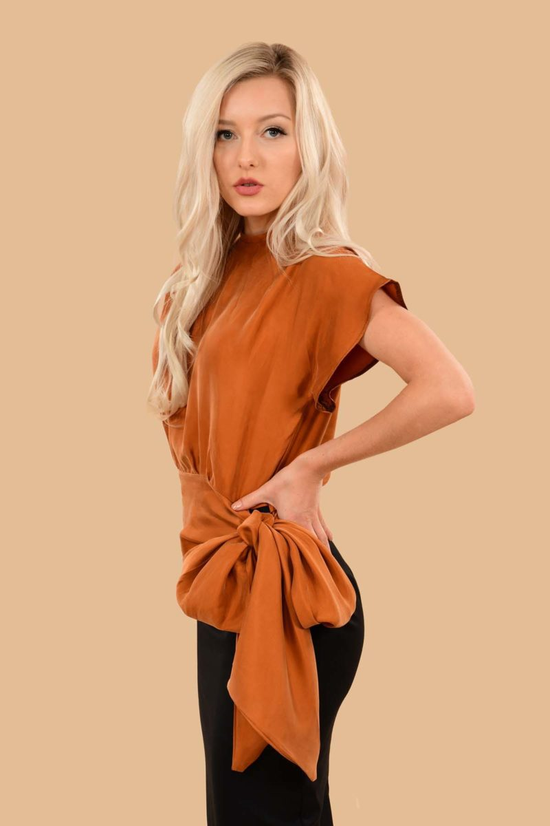 Vivien Night Out Silky Viscose Bow Evening Blouse Top Pumpkin Orange