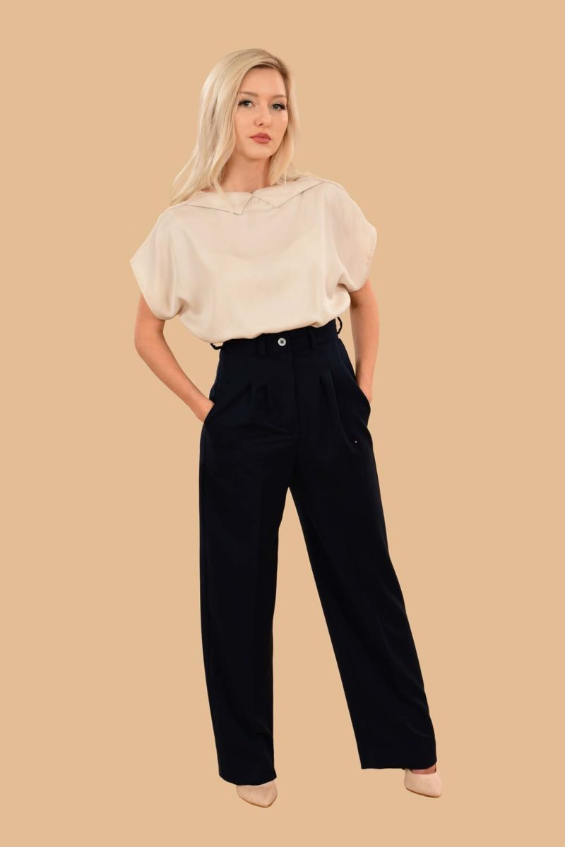Rita Pleated High Waist Front Zip Wide Leg Dress Pants Navy Blue
